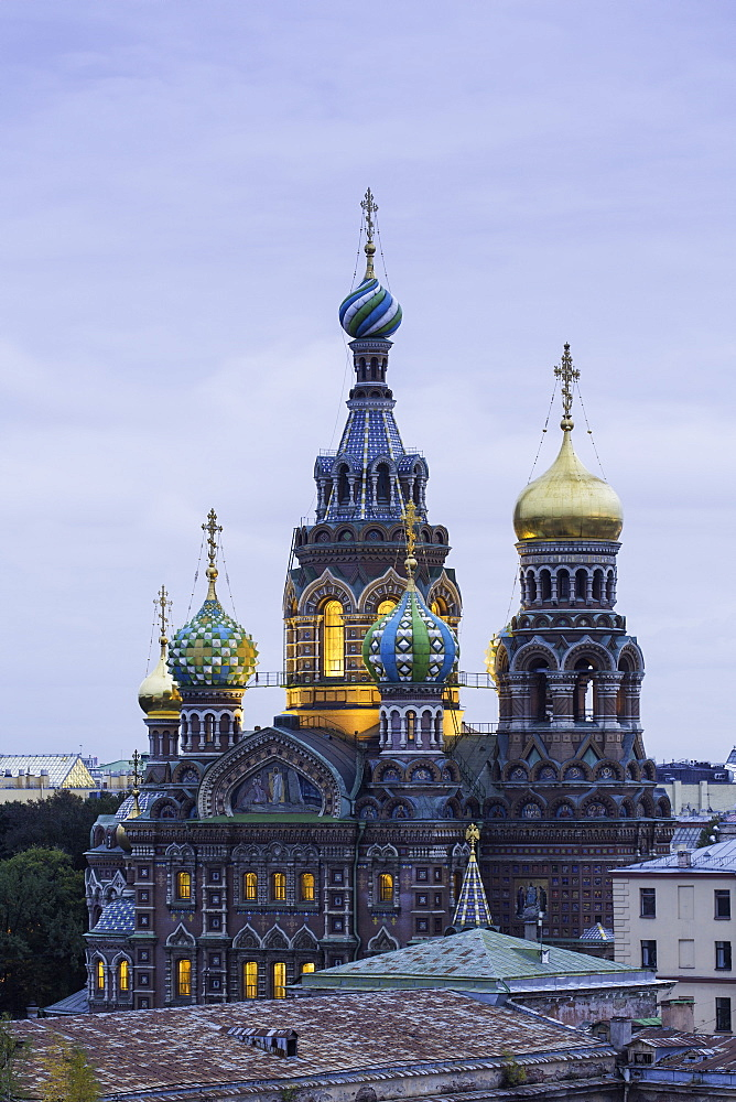 Illuminated domes of Church of the Saviour on Spilled Blood, UNESCO World Heritage Site, St. Petersburg, Russia, Europe