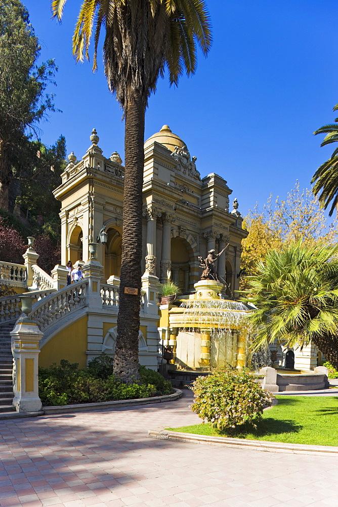 Cerro Santa Lucia (Santa Lucia park) and the ornate Terraza Neptuno fountain, Santiago, Chile, South America