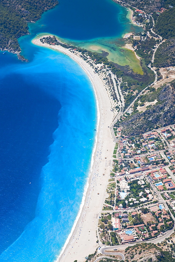 Aerial view of Blue Lagoon and Belcekiz Beach, Oludeniz, near Fethiye, Mediterranean Coast (Turquoise Coast), Anatolia, Turkey, Asia Minor, Eurasia - 794-523