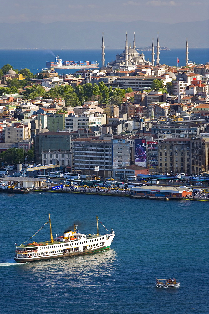 Elevated view over the Bosphorus and Sultanahmet from the Galata Tower, Istanbul, Turkey, Europe
