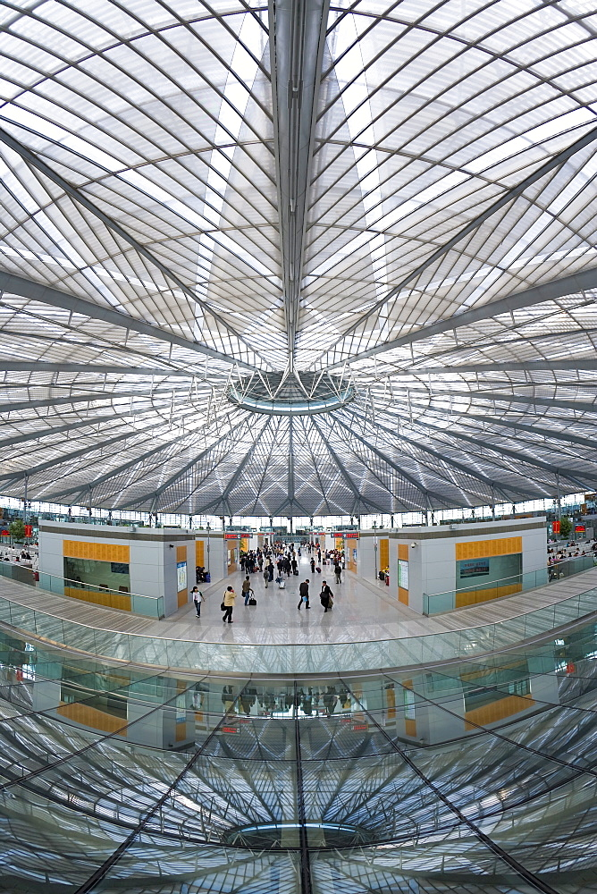 Interior of circular concourse and roof of the spectacular new Shanghai South Railway Station in 2007, Shanghai, China, Asia - 794-60