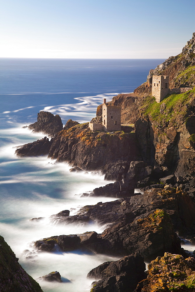 The remains of the Crown`s Shaft at Botallack Tin Mine, Cornwall, England, United Kingdom, Europe