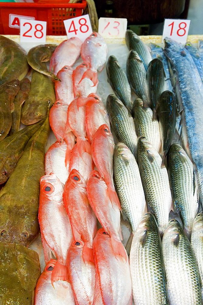 Fish stall in market, Wan Chai, Hong Kong Island, Hong Kong, China, Asia - 794-82