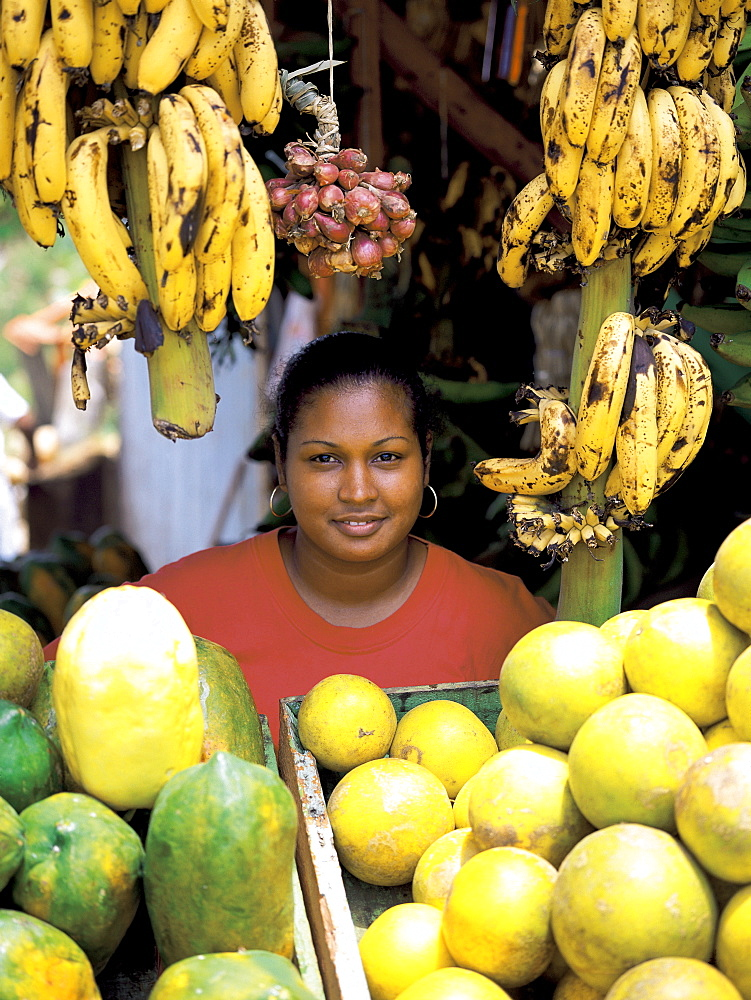 Woman on a fruit stall, Dominican Republic, West Indies, Caribbean, Central America - 795-143