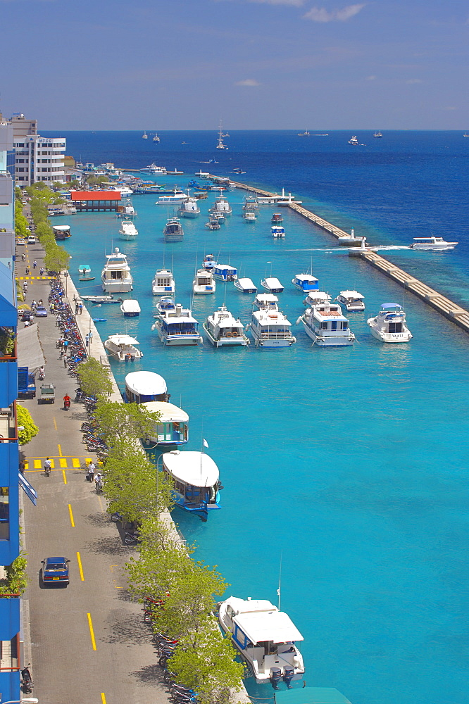 The harbour of the capital, Male, Maldives, Indian Ocean, Asia