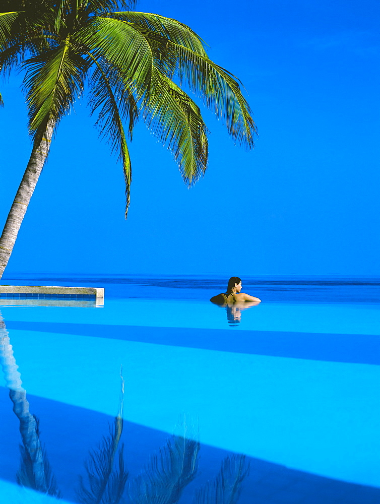 Woman in swimming pool under palm tree looking at sea, Maldives, Indian Ocean, Asia - 795-3