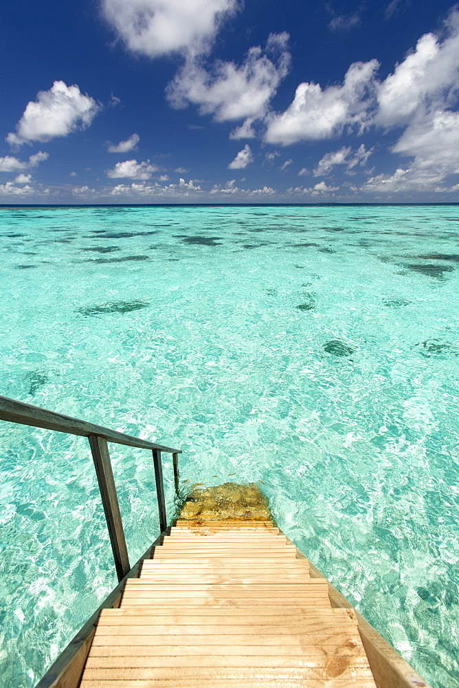 Ladder leading to the ocean, Maldives, Indian Ocean, Asia