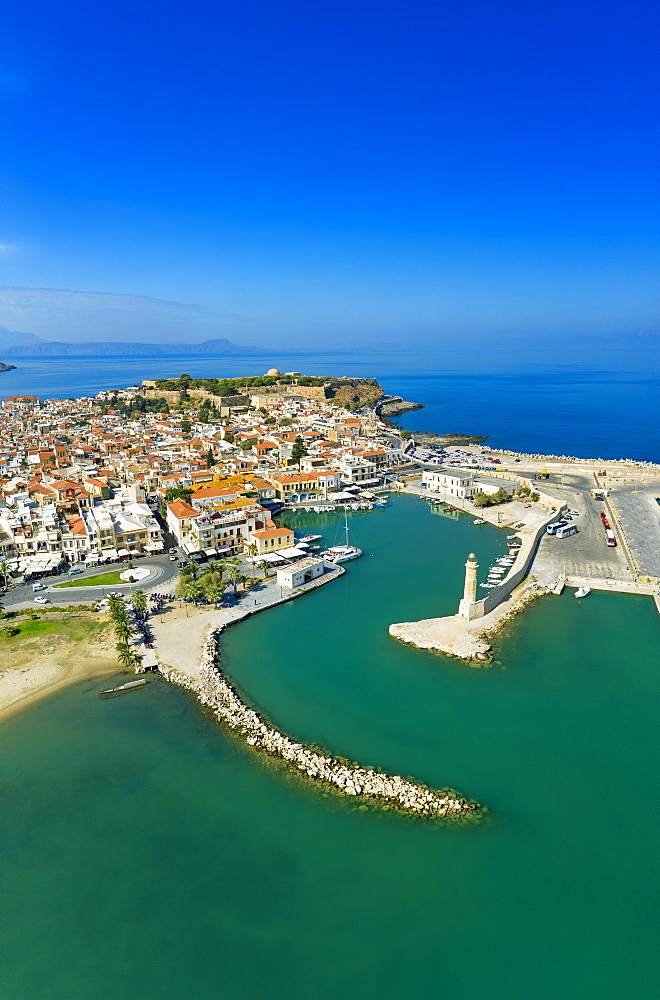 Aerial view by drone of Rethymno old town, Venetian Harbour and fortress, Crete Island, Greek Islands, Greece, Europe