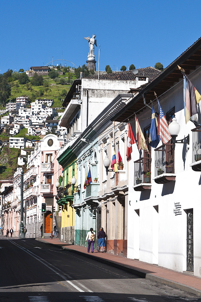 Historic Center with the Virgin of Quito Monument on hill, Quito, Ecuador, South America