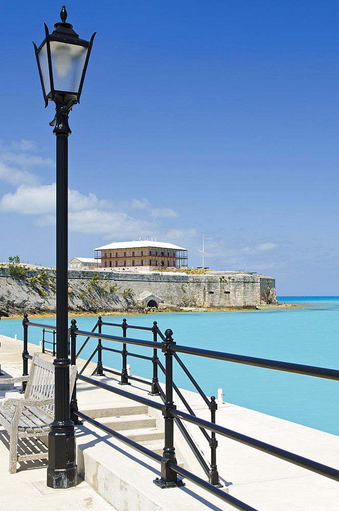 Commissioner's House and part of the old fort wall at the Royal Naval Dockyard, Bermuda, Central America