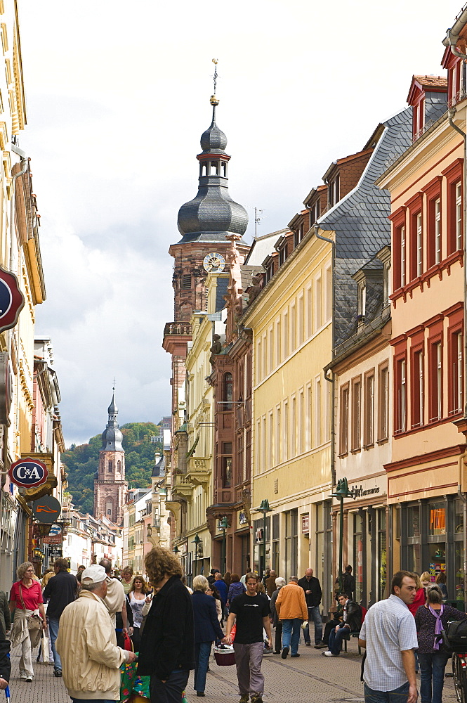 The Hauptstrasse, main Street with the Providenzkirche (Church of Providence) steeple, Old Town, Heidelberg, Baden-Wurttemberg, Germany, Europe