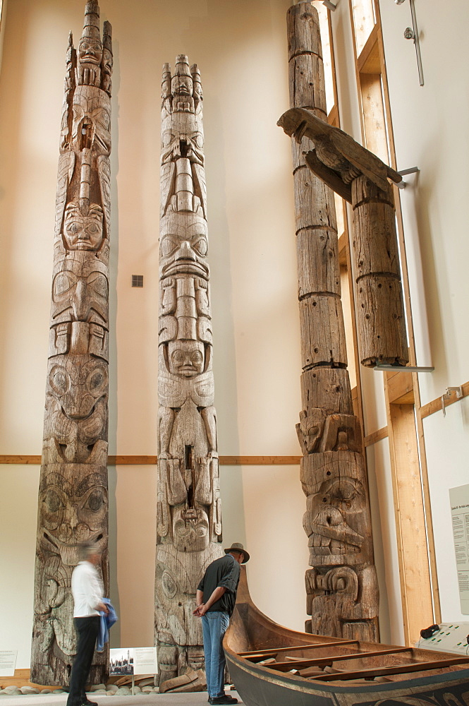 Totem poles at Haida Heritage Centre Museum at Kaay Llnagaay, Haida Gwaii (Queen Charlotte Islands), British Columbia, Canada, North America