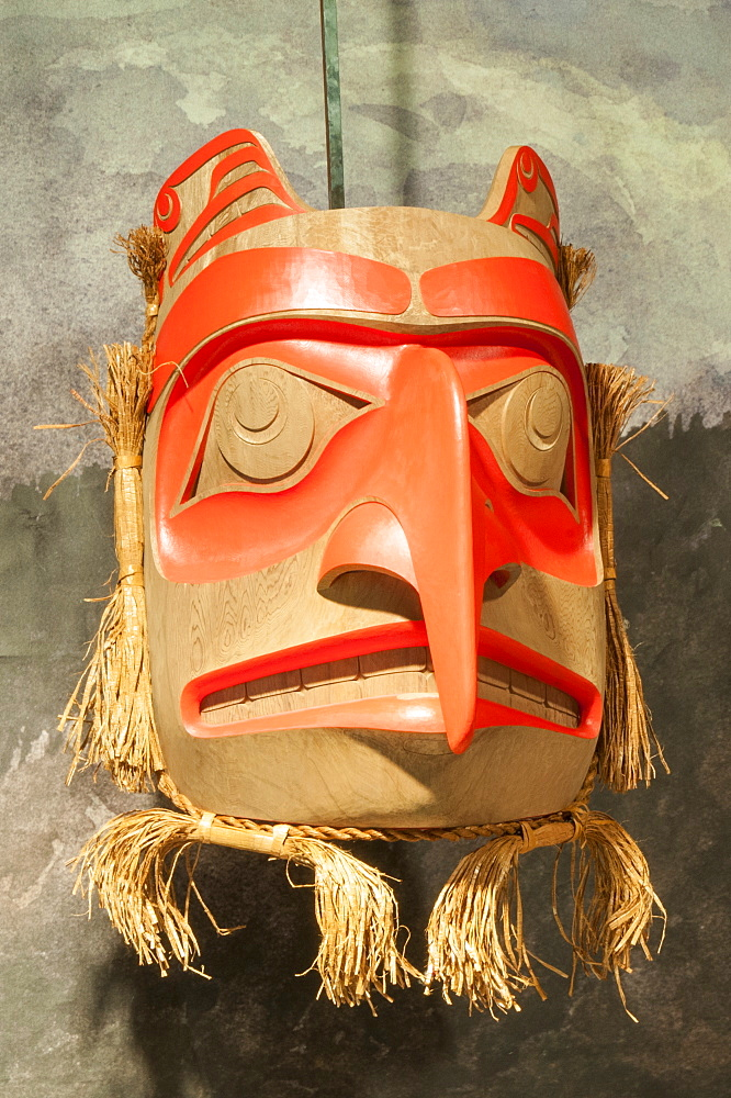 Mask at Haida Heritage Centre at Kaay Llnagaay, Haida Gwaii (Queen Charlotte Islands), British Columbia, Canada, North America