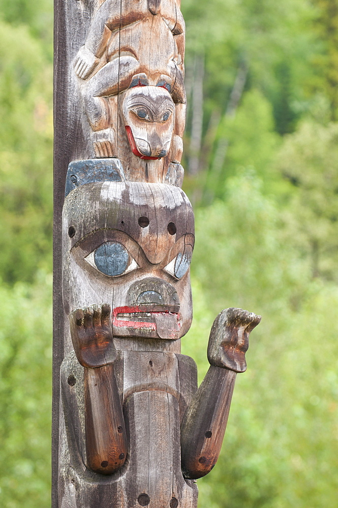 Totem poles at the Gitanyow Museum, Kitwancool (Gitanyow), British Columbia, Canada, North America