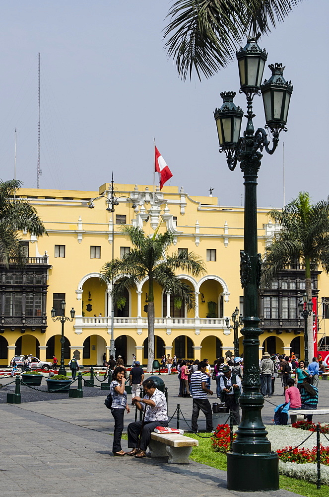 Municipal Palace of Lima, Plaza de Armas, Lima, Peru, South America