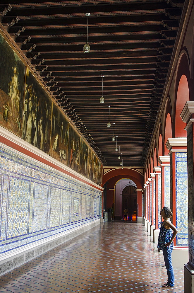 Mosaic walls in the Convent of Santo Domingo, Lima, Peru, South America