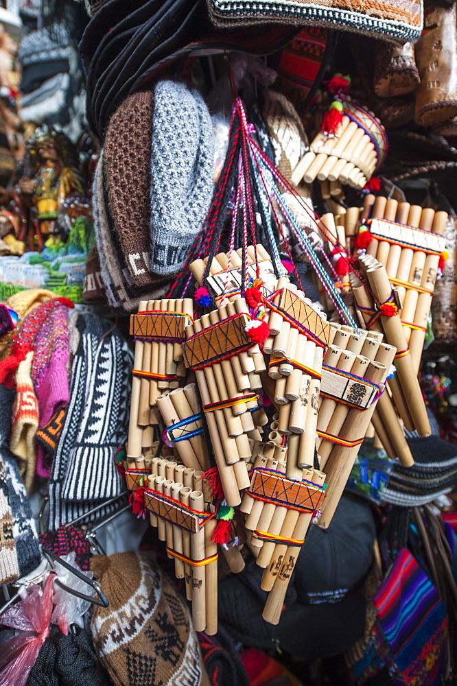 Andean flutes Local market Cusco, Peru, South America