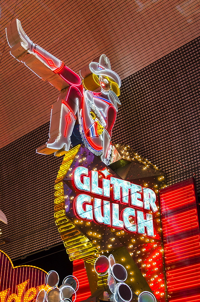 Cowgirl Glitter Gulch neon sign, Fremont Experience, Las Vegas, Nevada, United States of America, North America