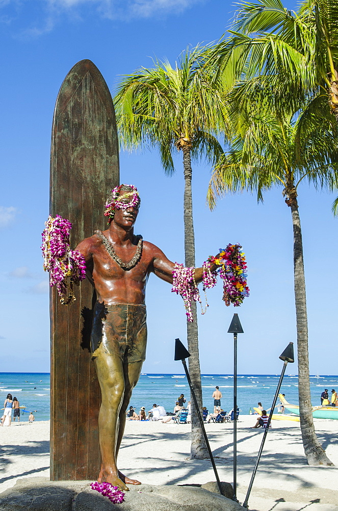 Duke Paoa Kahanamoku, Waikiki Beach, Honolulu, Oahu, Hawaii, United States of America, Pacific