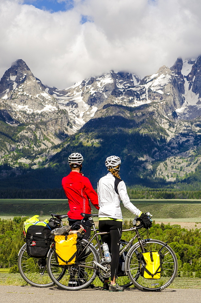 Bicycling in Grand Teton National Park, Wyoming, United States of America, North America