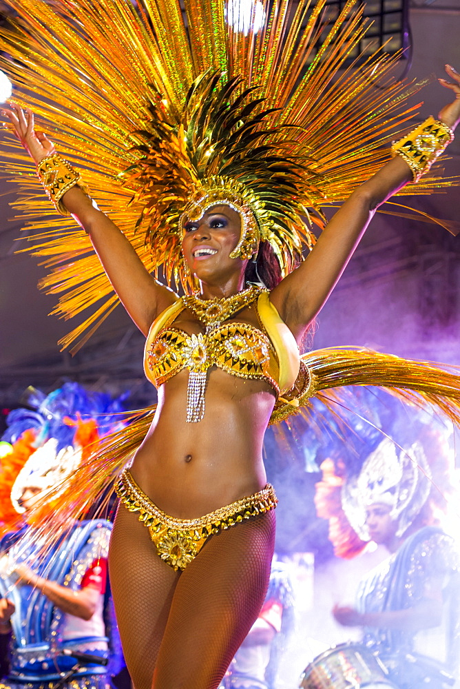Brazilian samba band in the International Carnival Seychelles, in Victoria, Mahe, Republic of Seychelles, Indian Ocean.