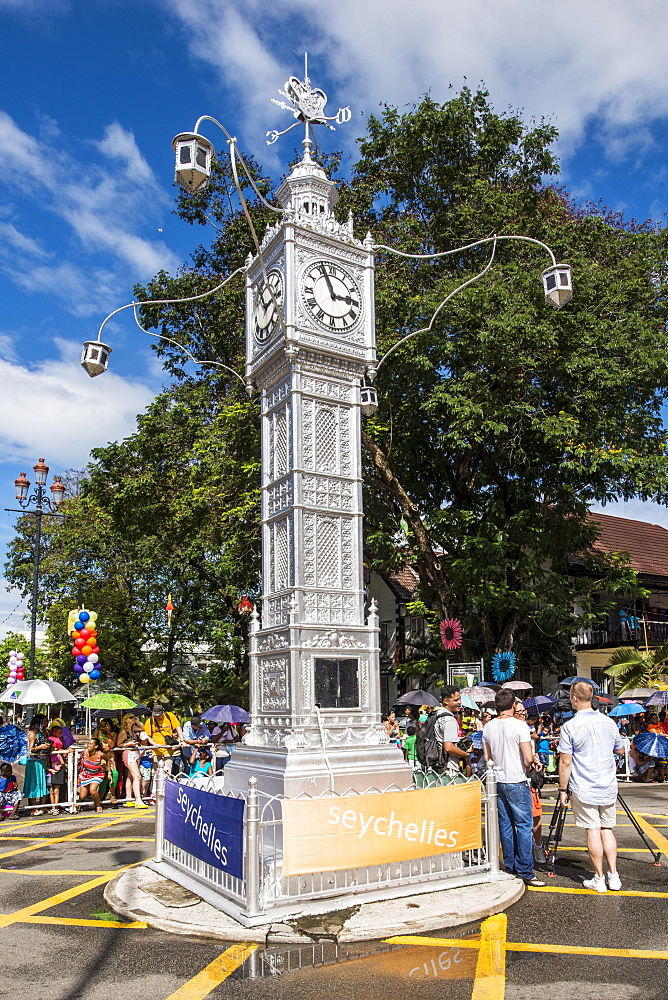 The Victoria Clocktower in downtown Victoria, Mahe, Republic of Seychelles, Indian Ocean, Africa - 796-2318