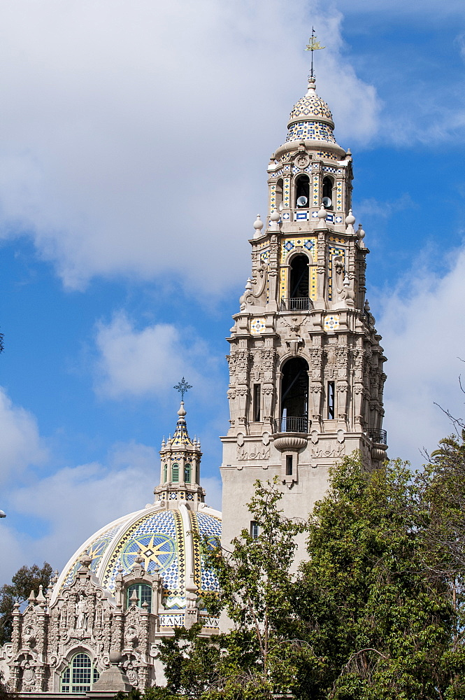 Dome of St. Francis Chapel and bell tower over the Museum of Man, Balboa Park, San Diego, California, United States of America, North America - 796-2356