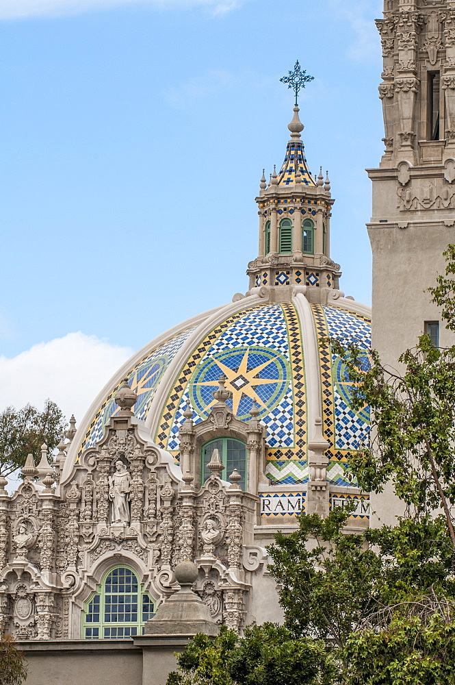Dome of St. Francis Chapel and bell tower over the Museum of Man, Balboa Park, San Diego, California, United States of America, North America - 796-2357