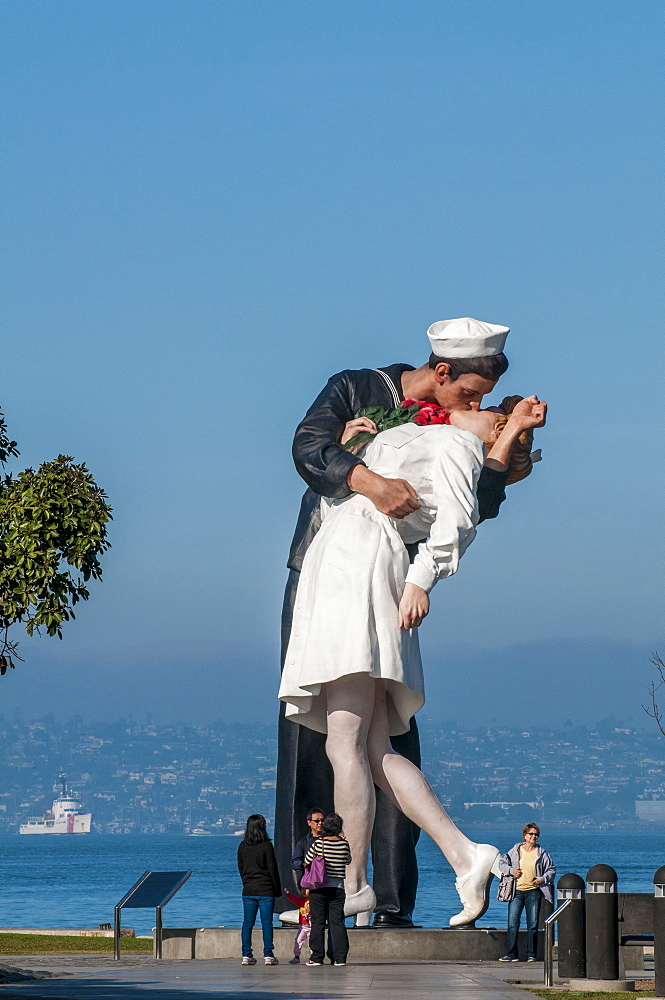 Unconditional Surrender sculpture by Seward Johnson at the USS Midway (aircraft carrier) Museum, San Diego Harbor, San Diego, California, United States of America, North America - 796-2361