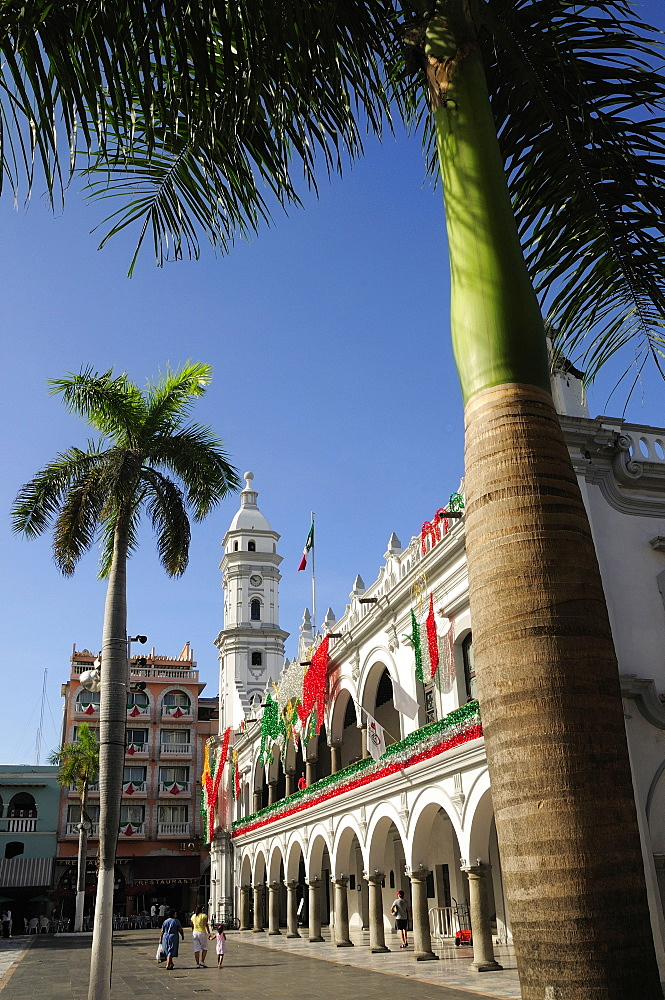 Mexico, Veracruz, Palm trees in the zocalo and government buildings decorated with national colours.