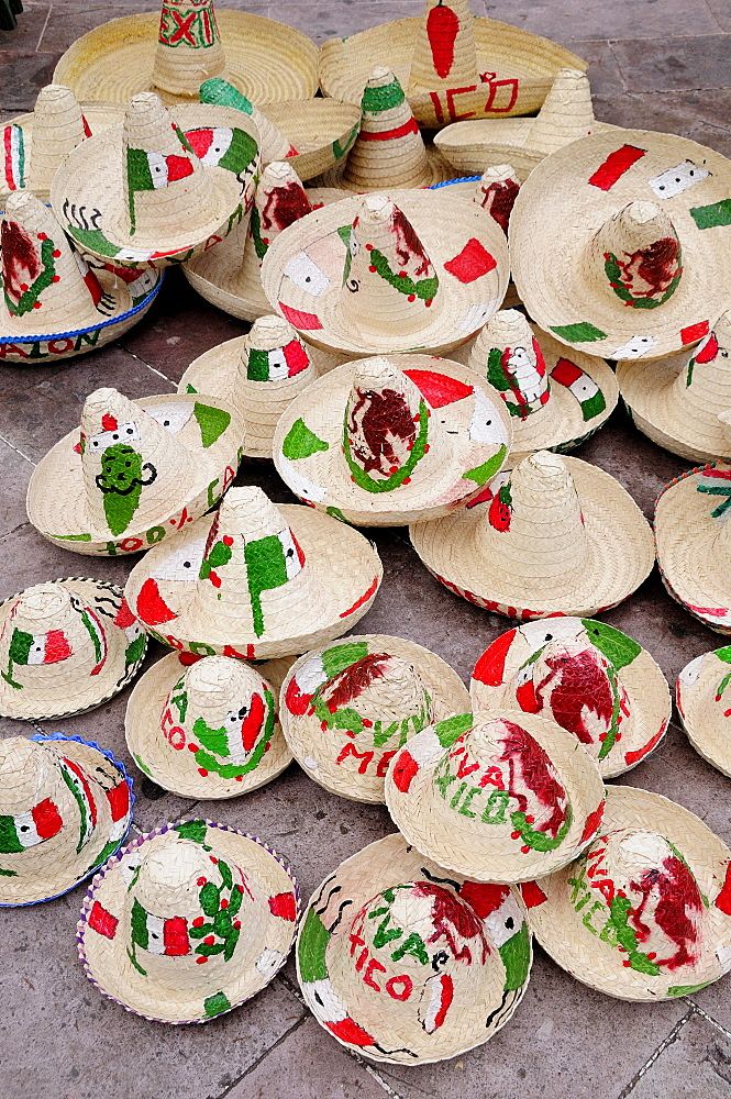 Mexico, Bajio, Zacatecas, Sombreros decorated for Independence Day.