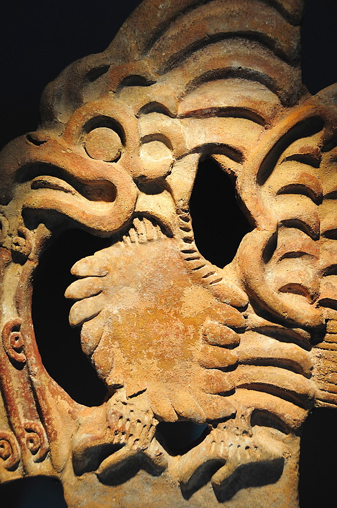 Mexico, Anahuac, Teotihuacan, Detail of architectural crenellation representing a bird on display in the site Museum.