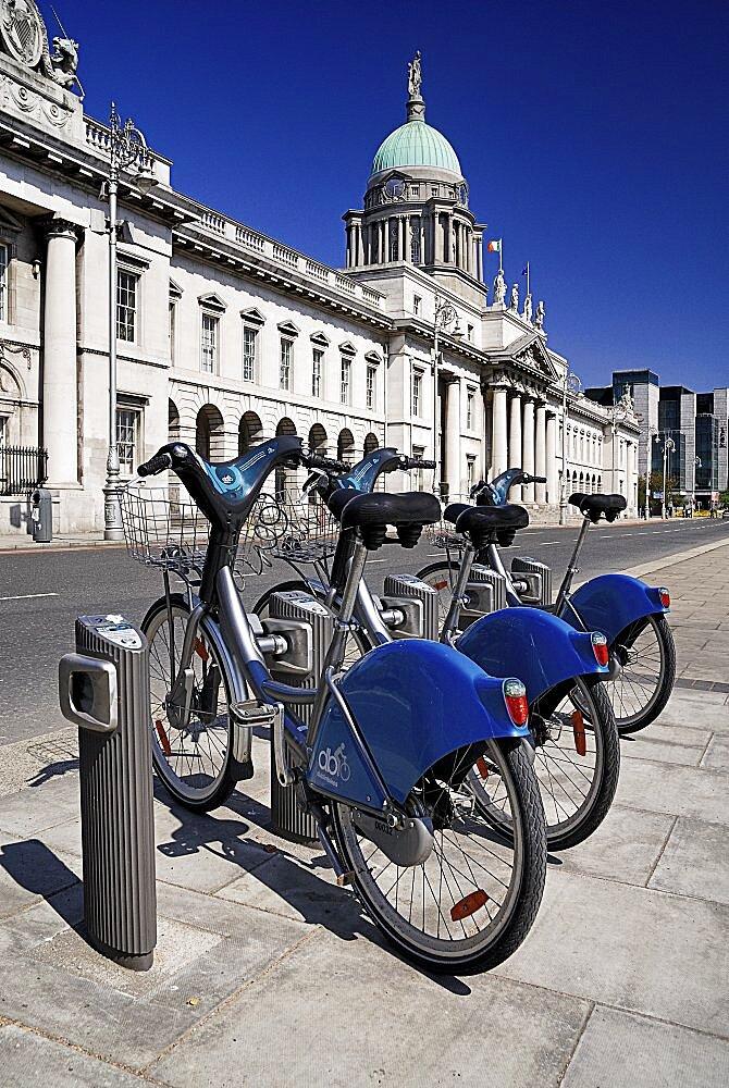 Ireland, County Dublin, Dublin City, Custom House with some Dublinbikes for hire.