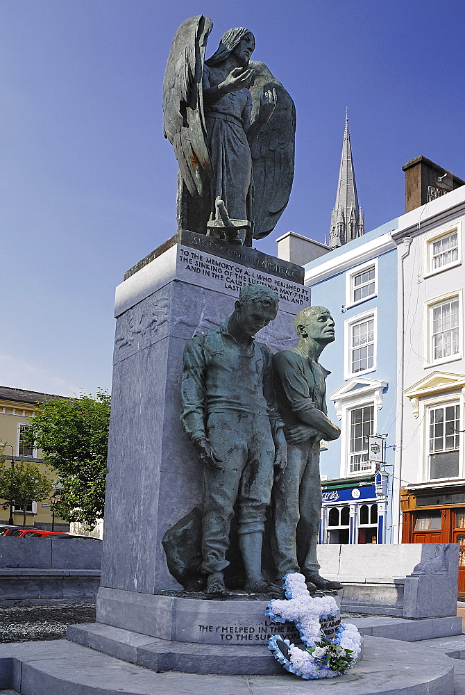 Ireland, County Cork, Cobh, Memorial to the victims of the Lusitania sinking.