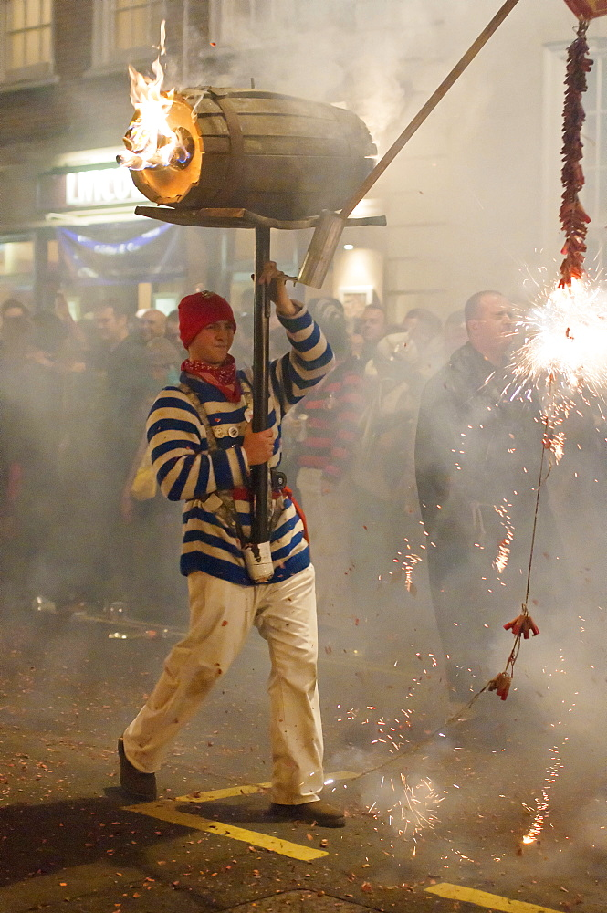 England, East Sussex, Lewes, The annual bonfire night parade celebrating 17 protestant martyrs killed in the fifteen hundreds.
