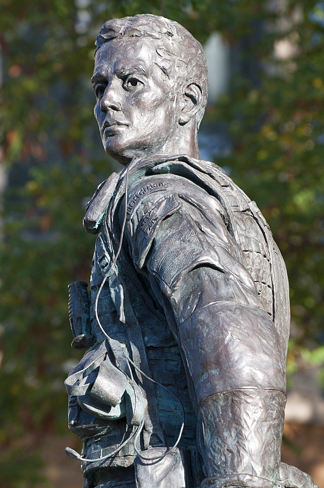 England, Berkshire, Windsor, The monument to the Irish Guards created by sculptor Mark Jackson was unveiled in 2011. The bronze statue made from material salvaged from the Iraq war.