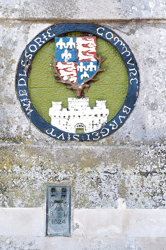England, Berkshire, Windsor, A heraldic plaque representing the kingdom at the time of King Henry IV 1406-1422 located on the bridge that spans the river Thames linking town to Eton