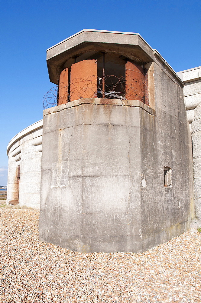 England, Hampshire, Milford on Sea, Second world war defences at Hurst Castle to defend the strategically important Solent.