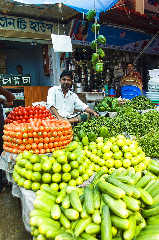 Bangladesh, Dhaka, Stall holder sat in market with neatly stacked piles of colourful vegetables around him.