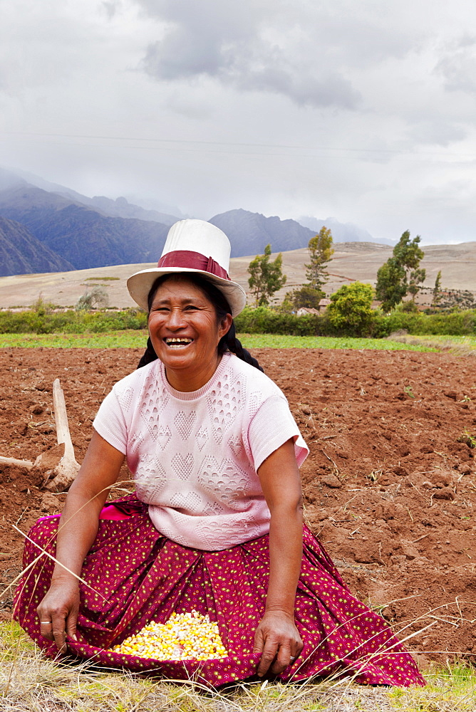 Peru, Chinchero, Peruvian female farmer showing the corn that she is planting.