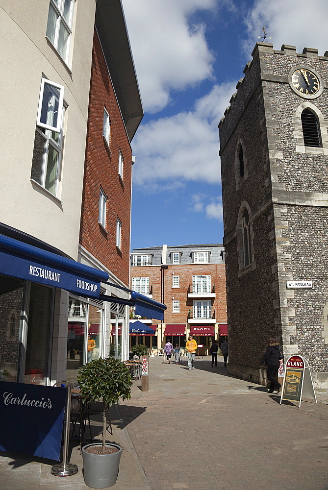 England, West Sussex, Chichester, Square with Carluccios and Raymond Blanc restaurants in the St Pancras area.
