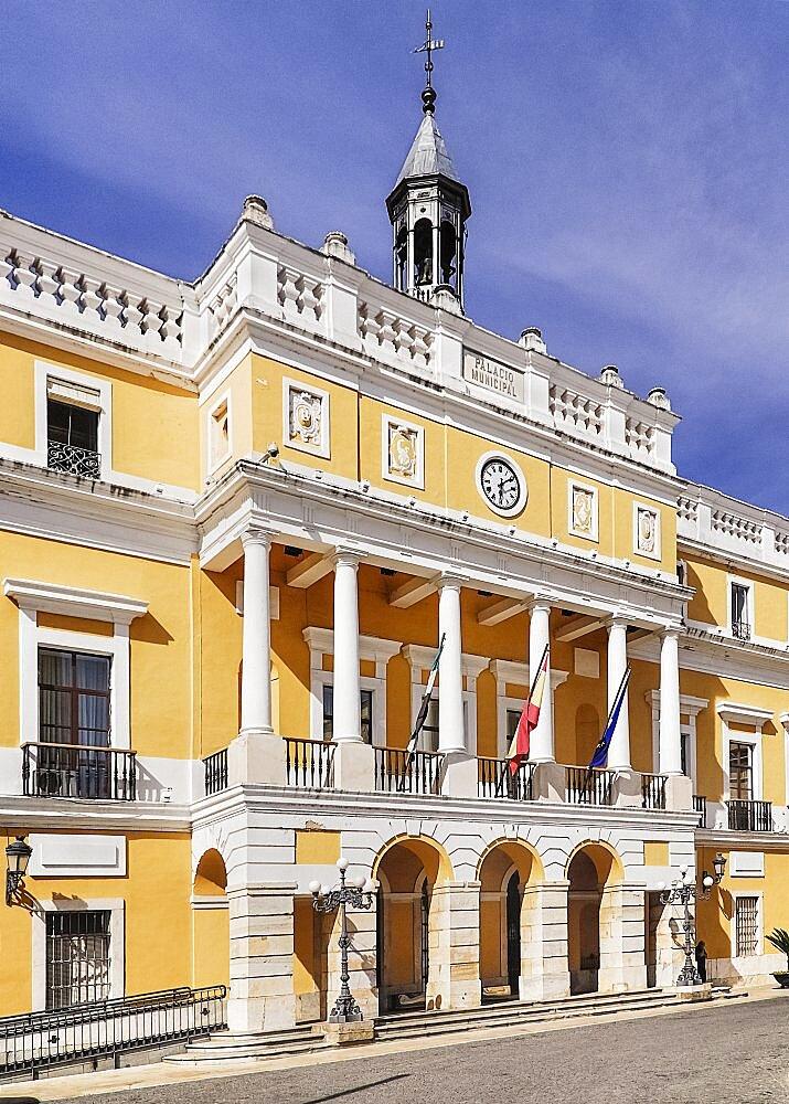 Spain, Extremadura, Badajoz, Exterior of the Ayuntamiento City hall Building.