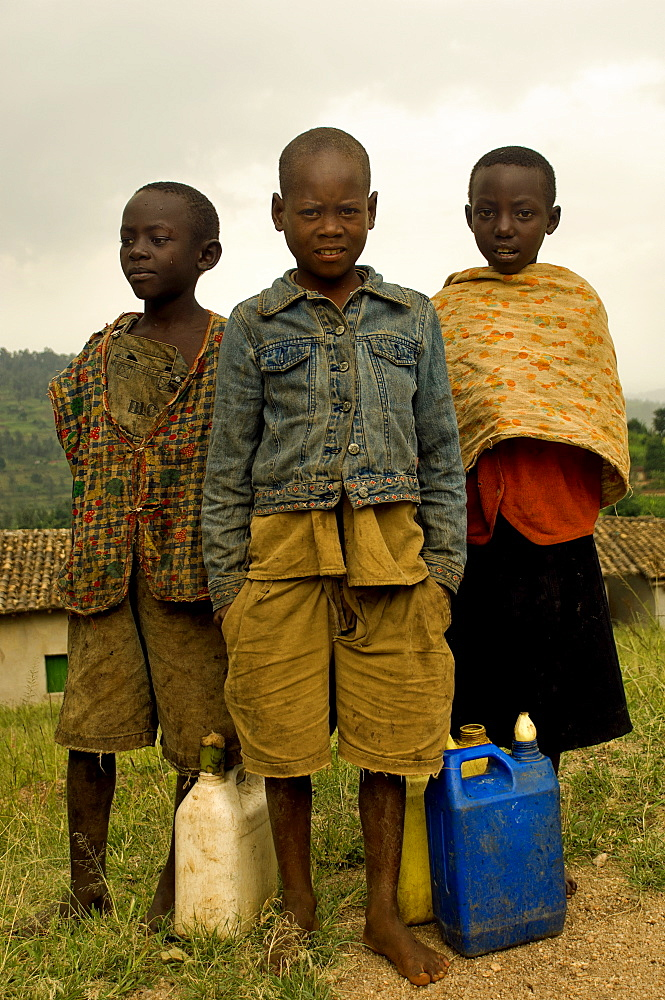Rwanda, Children, School children fetching water.