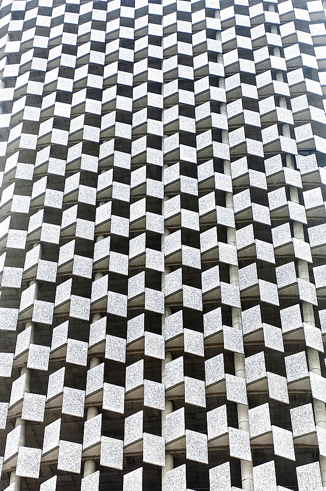 Albania, Tirana, Abstract shot of rectangualr facade of Tid Tower.