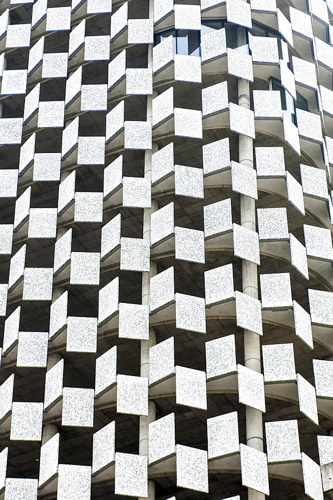 Albania, Tirana, Abstract shot of rectangular facade of Tid tower.