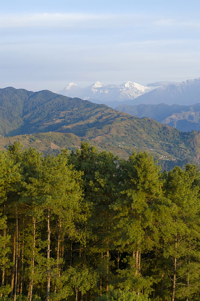 Nepal, Nagarkot, View across clouded Kathmandu valley towards Himalayan mountains