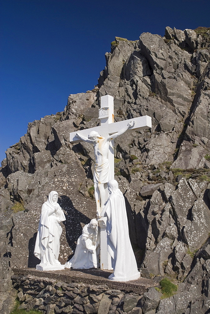 Ireland, County Kerry, Dingle Peninsula, Religious statue showing a Calvary scene near Slea Head.