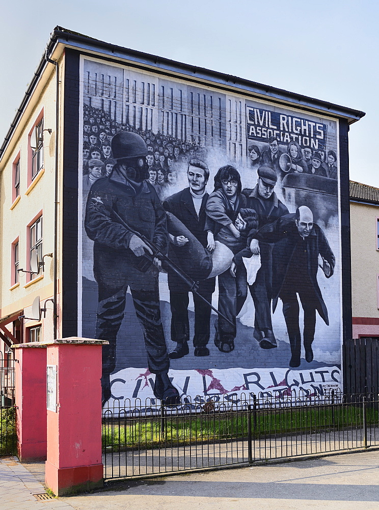 "Ireland, North, Derry, The People's Gallery series of murals in the Bogside, Mural known as ""Bloody Sunday Mural""."