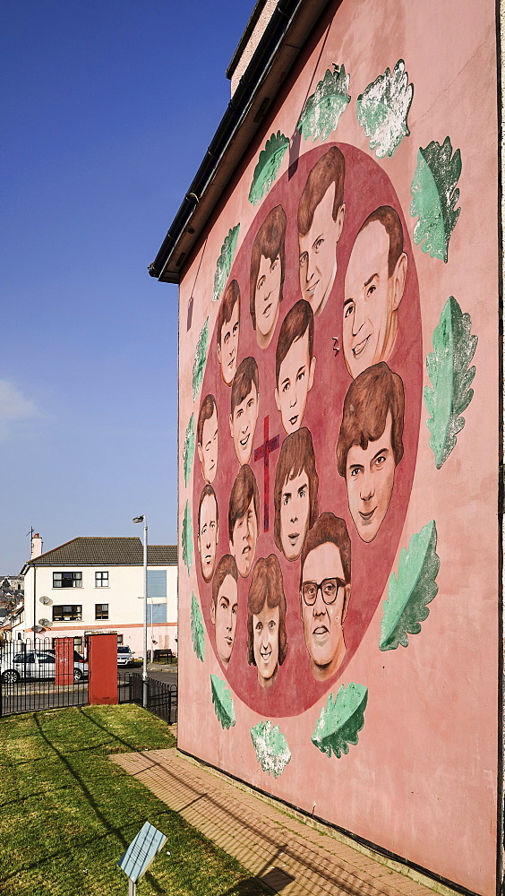 "Ireland, North, Derry, The People's Gallery series of murals in the Bogside, Mural known as ""Bloody Sunday Victims mural""."
