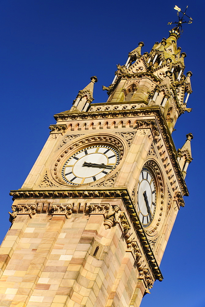 Ireland, North, Belfast, The Albert Memorial Clock Tower in Queen's Square constructed 1865-1870 as a memorial to Queen Victoria's consort Prince Albert.